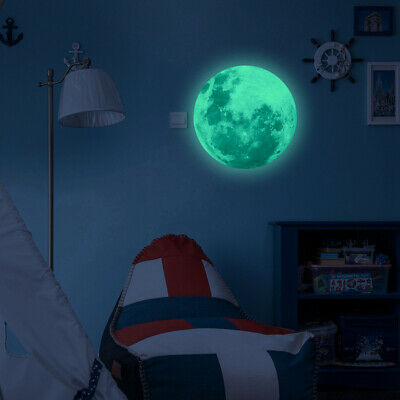30cm 3D large Moon Glow In The Dark Fluorescent Wall Sticker Removable Decal