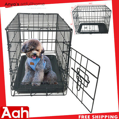"""20"""" Pet Kennel Cat Dog Folding Steel Crate Animal Playpen Wire Metal Cage Black"""