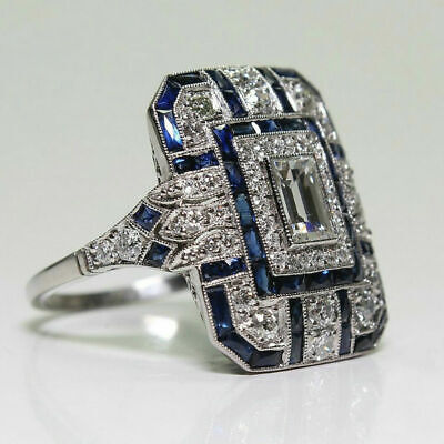 Art Deco Silver White Topaz Blue Sapphire Ring Wedding Bridal Women Jewelry 6-10