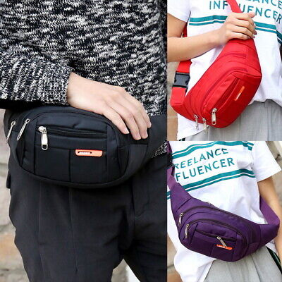 Unisex Waterproof Waist Bum Bag Fanny Pack Belt Money Pouch Wallet Travel Bag UK