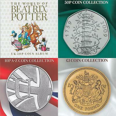 Beatrix Potter 50p 10p A-Z £1 Coin Hunt Collection Albums Kew Gruffalo Hawkings