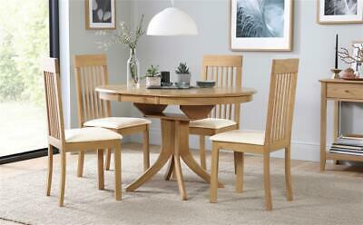 Hudson & Oxford Round Extending Oak Dining Table and 4 6 Chairs Set (Ivory)