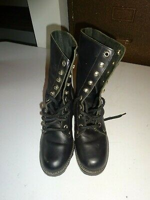 """WOMENS Wild Pair Work Fashion Boots Black Size 5.5B Lace Up 2"""" Heel"""