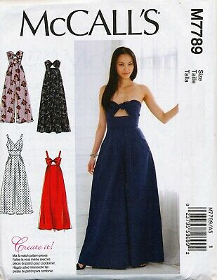 MCCALLS SEWING PATTERN 7756 MISSES 6-14 EASY LOOSE FITTING DEEP V-NECK JUMPSUITS