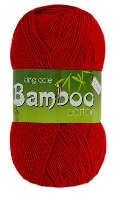 12 X King Cole Bamboo Cotton 4 Ply 1647 poppy red Yarn /& free pattern