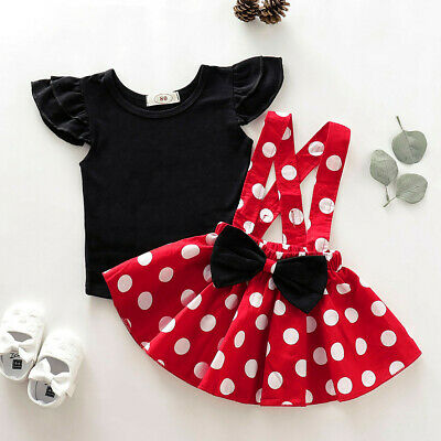 Infant Kids Baby Girls T-Shirt Top+Dot Print Bow Skirt Outfits Set Clothes KK