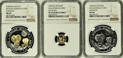 2014 Somalia African Wildlife Set of 3 Gold & Silver NGC MS69,MS68 & PF69