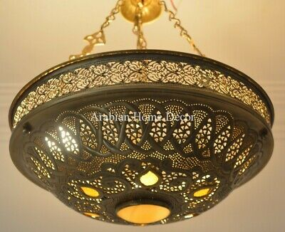 Handcrafted Moroccan Brass Ceiling light Fixture Chandelier Lamp Bronze Finish