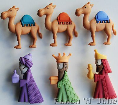 WE THREE KINGS Christmas Nativity Wise Men Baby Jesus Camel Dress It Up Buttons