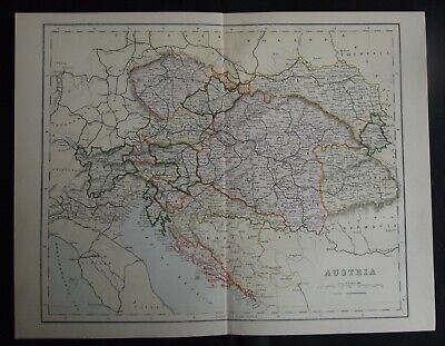 Antique Map: Austria, Europe, c 1880, Colour
