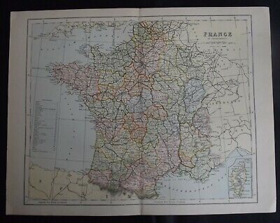 Antique Map: France in Departments, Europe, c 1880, Colour