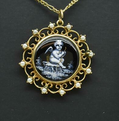 Estate 14k Yellow Gold French Miniature Portrait & Seed Pearls Pendant 6.3g