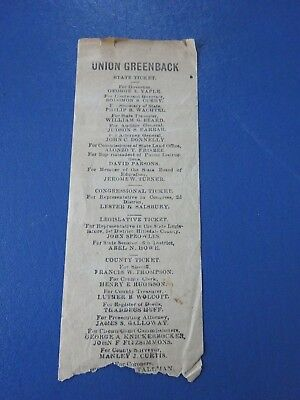 1886 Union Greenback Michigan State Election Candidate Ticket