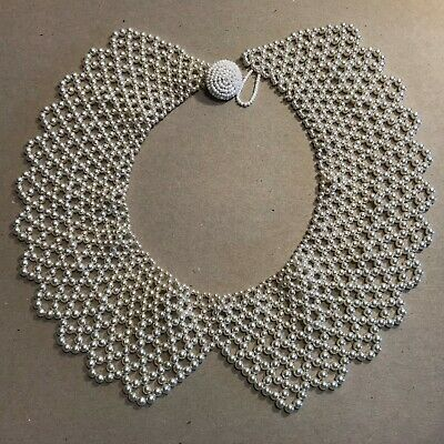 Vintage 1950's White Simulated Pearls Beaded Collar Attachment Dressy Formal