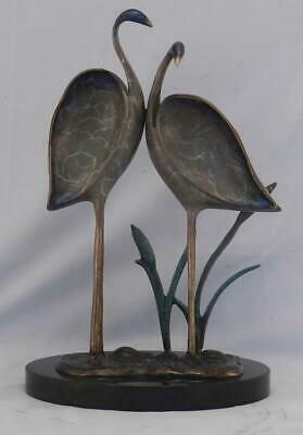 Vintage Mid Century Modern Blue Heron Bronze Art Sculpture~Black Slate Base~VGC