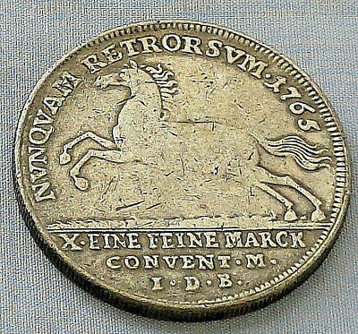 1765 Unknown Coin Silver Antique Old German Austria Hungarian European Horse UK