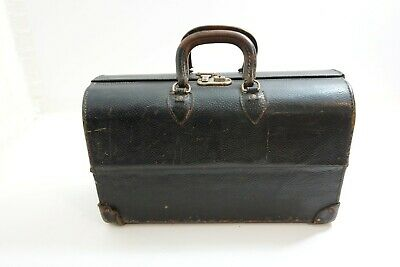 Antique / Vintage Black Leather Hard Shell Doctors Bag With Compartments