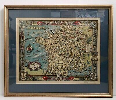 Original Pictorial 1936 Story Map Of France Colortext Chicago Rare Framed