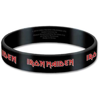 Iron Maiden Wristband Classic band Logo Official New Black 17 mm rubber Size One