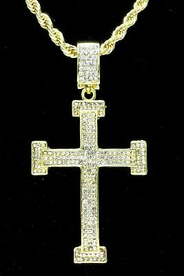 """Mens Icy Large Cz Cross Pendant 14k Gold Plated 24"""" Rope Chain Hip Hop Necklace"""