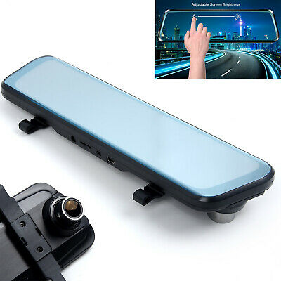 10 inch Touch Screen Car DVR Rear View Mirror Dash Cam Full HD 1080P Dual Lens