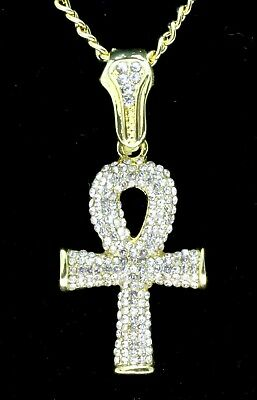 """Icy Ankh Pendant 14k Gold Plated Cz w/ 24"""" Link Chain Hip Hop Necklace"""