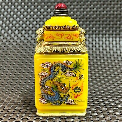 Chinese Zodiac Old Yellow Coloured Glaze Handwork Dragon & Snake Snuff Bottle