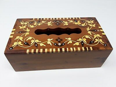 Moroccan Handmade Thuya Wood  Burl Tissue Box Inlaid with Mother-of-Pearl