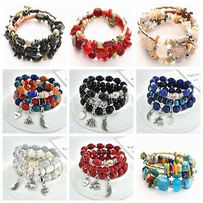 Lady Multilayer Natural Stone Agate Crystal Bangle Party Beaded Bracelet Jewelry