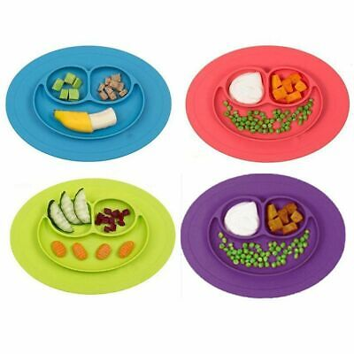 Baby Kids Suction Table Food Plate Happy Bowl Feeding Toddler Silicone Placemats