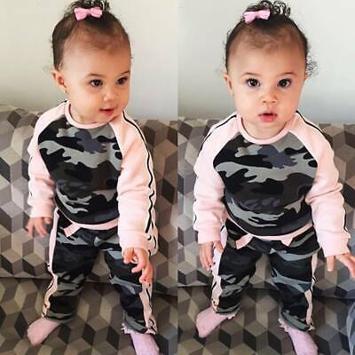 Toddler Kids Baby Girl Clothing Long Sleeve Pink Camouflage Outfits Set 1-4Y