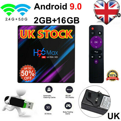 H96 MAX 4GB+64GB Android 9.0 Quad Core TV Box 4K HD Media Player WIFI UK Ship