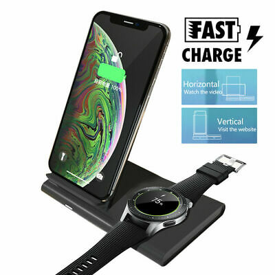 Detachable 2 IN 1 Qi Wireless Fast Charge Station For Samsung Galaxy Phone/Watch