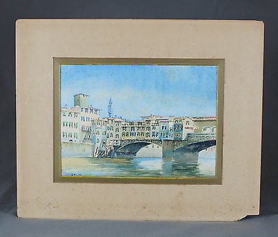 Ponte Vecchio Florence Italian Watercolour Painting Italy 19th Century