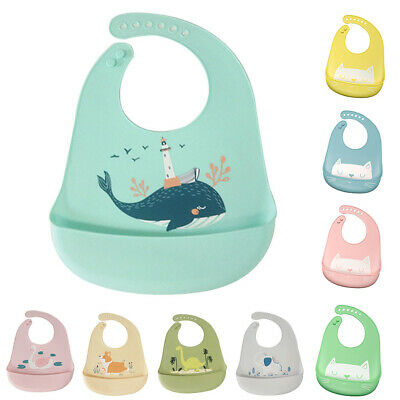 Waterproof Adjustable Baby Animal Pattern Bib with Pocket Feeding Saliva Apron