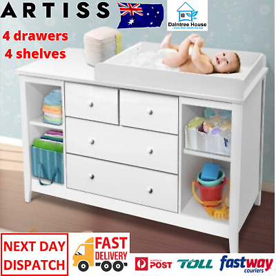 NEW White Baby Chest Storage Drawer Change Table Dresser Cabinet,4 Shelves Space