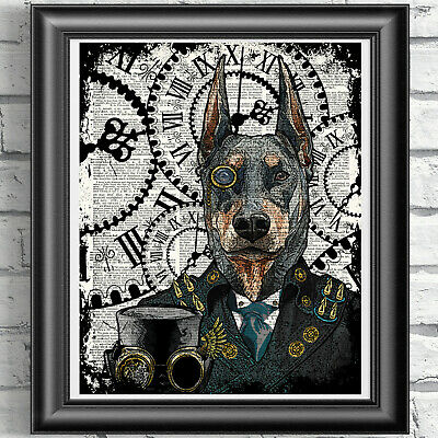 Dog Print Vintage Dictionary Page Wall Art Picture Steampunk Animal Doberman