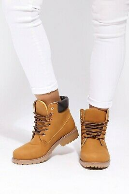 I SAW IT FIRST Girls Womens Lace Up Hiker Boots Size 3/36 BNWT £22.99 Honey