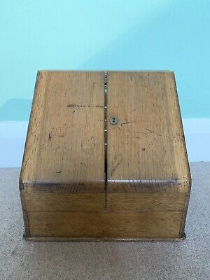 Antique Victorian Oak Stationery Writing Box Desk Table Top Cabinet & Calendar