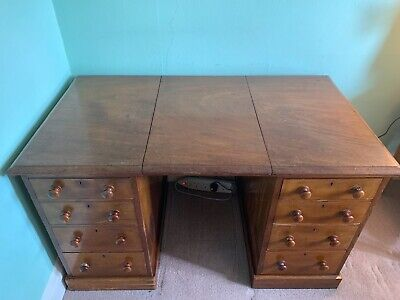 Antique mahogany twin pedestal desk with round wooden handles H75 D72 W125