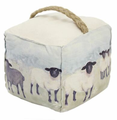 Charming Country Sheep Meadow Scene Doorstop - Novelty Animal Fabric Door Stop