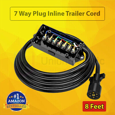7 Way Trailer Plug Wire Connector Inline Cord w/ 7 Gang Junction Box RV Blade