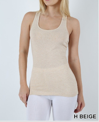 Zenana Outfitters Cotton Blend  Stretch Ribbed  Tank Top M Heth Beige