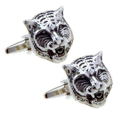 TIGER CUFFLINKS Animal Face Head Chinese Zodiac NEW w GIFT BAG Wedding Groom