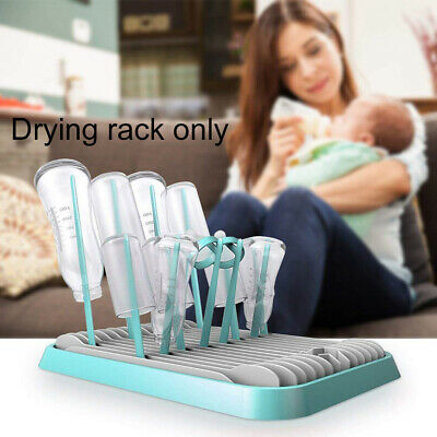 Milk Bottle Cups Baby Infant Foldable Drying Rack Nipple Hygienic Dual Layer