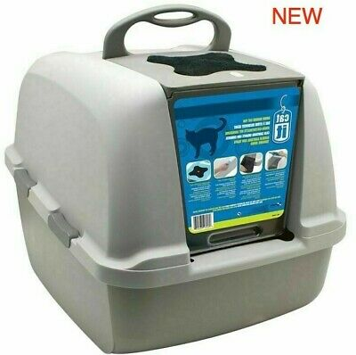 Covered Litter Tray Box, Large Jumbo Cat Toilet, Carbon Filters, Plastic Durable