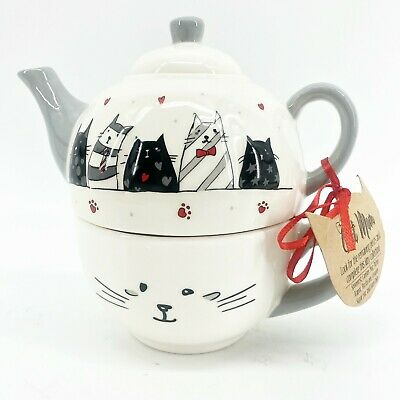 NEW Whimsical Cupboard 10 Strawberry Street Cat Teapot & Mug Set Black Red White