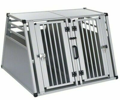 Double Travel Dog Cage Carrier Metal Crate Transport Animal Car Safety Shelter