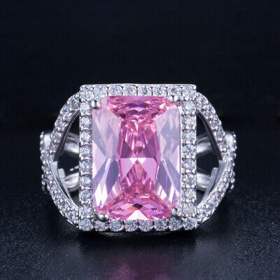 CWWZircons  Square Cut Cubic Zirconia Big Pink Stone Rings for Women Engagement