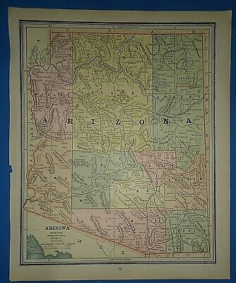 Vintage Circa 1887 ARIZONA TERRITORY PRESCOTT CAPITOL MAP Old Antique Original